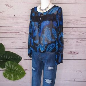 Lucky Brand Black Blue Paisly Lace Tunic Top M